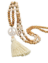 cheap -Women's Pendant Necklace Beaded Necklace Handmade Peace Sign Luxury Unique Design Ethnic Classic Wooden Crystal Stone White 86 cm Necklace Jewelry 1pc For Street Prom Birthday Party Beach Festival