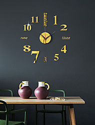 cheap -3D DIY Wall Clock Frameless Mirror Wall Sticker Home Decor for Living Room Bedroom 40cm*40cm