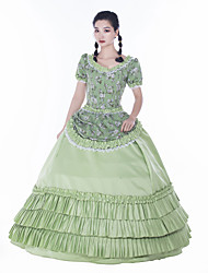cheap -Maria Antonietta Retro Vintage Rococo Vacation Dress Dress Masquerade Women's Lace Satin Costume Green Vintage Cosplay Party Prom Short Sleeve Floor Length Ball Gown Plus Size