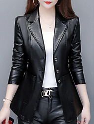 cheap -Women's Single Breasted Faux Leather Jacket Regular Solid Colored Daily Basic Black Purple Red Wine M L XL XXL