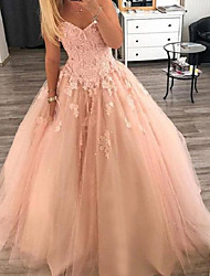 cheap -Ball Gown Luxurious Sexy Quinceanera Formal Evening Dress Sweetheart Neckline Sleeveless Floor Length Tulle with Appliques 2020