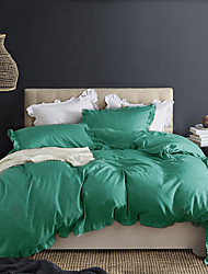 cheap -Light Green 3-Piece Duvet Cover Set Hotel Bedding Sets Comforter Cover with Soft Lightweight Microfiber and Lotus Leaf Edge Decoration(Include 1 Duvet Cover and 1or 2 Pillowcases)