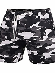 cheap -men gym sports bodybuilding workout shorts 5 inch with raw hem design camo series athlete color camo black size 2xl