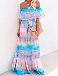 cheap -Women's Swing Dress Maxi long Dress - Sleeveless Print Print Summer Strapless Casual 2020 Black Blue Rainbow Light Blue S M L XL XXL 3XL