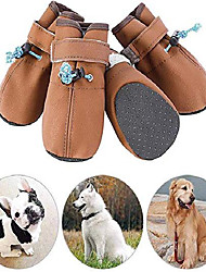 cheap -dog shoes,soft pu leather dog boots with velcro straps and elastic adjusting buckle straps,anti-slip sole paw protectors for dog hot pavement hiking running indoor walking stay on shoes