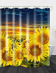 cheap -Golden Sunflower Print Waterproof Fabric Shower Curtain for Bathroom Home Decor Covered Bathtub Curtains Liner Includes with Hooks 72 Inch