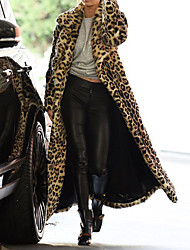 cheap -Women's Faux Fur Coat Regular Leopard Print Daily Khaki M L XL XXL
