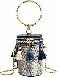 cheap -tassels woven bucket bag, bucket bags for women, crossbody, bule 02, size small