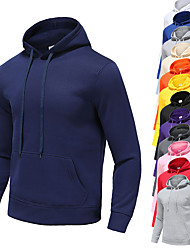 cheap -Men's Pocket Hoodie Sweatshirt Casual Long Sleeve Winter Fleece Thermal Warm Breathable Soft Fitness Gym Workout Performance Running Jogging Sportswear Solid Colored Normal Top Sweatshirt White Black