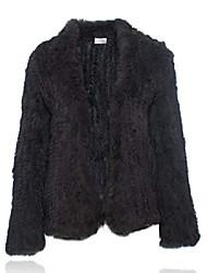 povoljno -prirodni krzneni kaput pletena jakna od zečjeg krzna dugi rukav željezno siva