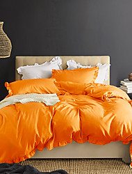 cheap -Orange 3-Piece Duvet Cover Set Hotel Bedding Sets Comforter Cover with Soft Lightweight Microfiber and Lotus Leaf Edge Decoration(Include 1 Duvet Cover and 1or 2 Pillowcases)