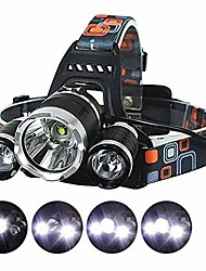 cheap -Headlamps LED Headlight Waterproof Super Bright Emitters 4 Mode with Batteries and Charger Waterproof Super Bright Ultra Light (UL) Camping / Hiking / Caving Cycling / Bike Fishing Black