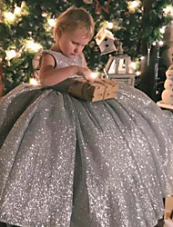 cheap -Princess / Ball Gown Sweep / Brush Train Wedding / Party Flower Girl Dresses - Lace / Organza Sleeveless Jewel Neck with Bow(s) / Ruffles / Paillette