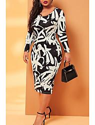 cheap -Women's Shift Dress Midi Dress - Long Sleeve Print Patchwork Print Fall Plus Size Elegant Skinny 2020 Black XL XXL 3XL 4XL 5XL