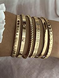 cheap -6pcs Women's Cuff Bracelet Wrap Bracelet Hologram Bracelet Stacking Stackable Fashion Birthday Heart Luxury Dangling Fashion Punk Trendy Alloy Bracelet Jewelry Gold For Anniversary Gift Formal Date