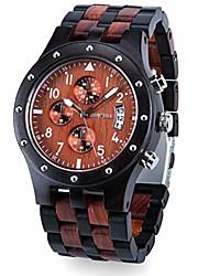 cheap -bewell w109d men's wooden watch quartz movement date display luminous sports wristwatch