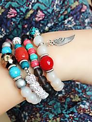cheap -4pcs Women's Bead Bracelet Friendship Bracelet Wrap Bracelet Stacking Stackable Fashion Birthday Wings Simple Luxury Tassel Basic Boho Acrylic Bracelet Jewelry White / Black / Royal Blue For Party