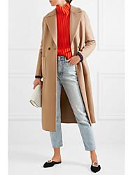 cheap -Women's Solid Colored Basic Fall & Winter Coat Long Daily Long Sleeve Wool Coat Tops Camel