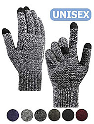 cheap -winter gloves for women,  men's gloves with touch screen - knit running gloves for cold weather driving texting phone with hand warm lined - elastic cuff - anti-slip grip - black & white (m)