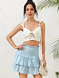cheap -Women's Daily Wear Basic Skirts Solid Colored Ruched Blue