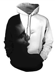 رخيصةأون -رجالي مناسب للبس اليومي البلوز هوديي البلوز الرسم صورة كاجوال هوديس بلوزات أبيض
