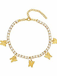 cheap -butterfly anklet for women teen girls, 18k gold / white gold plated rhinestone inlay chain tennis ankle bracelet with extension (gold)