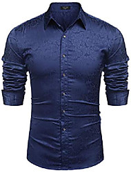 cheap -Men's Shirt Long Sleeve Tops  Streetwear Navy Black Blue