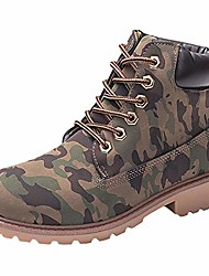 cheap -womens high-top lace up ankle boots combat booties outdoor walking hiking trekking shoes camouflage women size 9 m