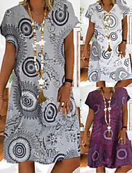 cheap -Women's Shift Dress Knee Length Dress - Short Sleeve Print Print Summer Casual Loose 2020 White Purple Gray S M L XL XXL 3XL 4XL 5XL