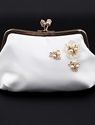 cheap -Women's Bags Polyester Alloy Evening Bag Crystals Flower Handbags Wedding Event / Party White Black