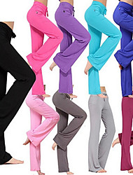 cheap -Women's Yoga Pants Drawstring Flare Leg Pants / Trousers Breathable Moisture Wicking Solid Colored White Black Purple Modal Zumba Pilates Dance Plus Size Sports Activewear Stretchy Loose / Burgundy