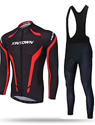 cheap -XINTOWN Men's Long Sleeve Cycling Jersey with Bib Tights Red / black Solid Color Bike Pants / Trousers Jersey Bib Tights Breathable 3D Pad Reflective Strips Back Pocket Sweat-wicking Winter Sports