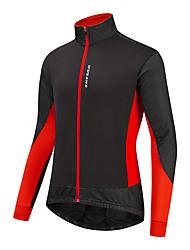 cheap -WOSAWE Men's Cycling Jersey Winter Bike Jacket Tracksuit Windbreaker Windproof Fleece Lining Warm Sports Solid Color Black / Red / Black / Green / Black / Blue Clothing Apparel Bike Wear / Athletic