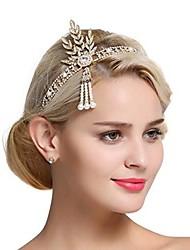 cheap -art deco 1920s flapper great gatsby leaf bridal tiara pearl headpiece headband gold