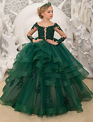 cheap -Princess / Ball Gown Sweep / Brush Train Party / Wedding Flower Girl Dresses - Lace Long Sleeve Jewel Neck with Tier / Appliques