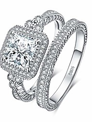 cheap -vintage wedding rings wedding bands halo solitaire engagement rings for women anniversary promise ring bridal sets princess cubic zirconia 925 sterling silver ring sets size 9