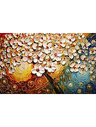 cheap -Oil Painting Hand Painted Horizontal Panoramic Floral / Botanical Modern Rolled Canvas (No Frame)