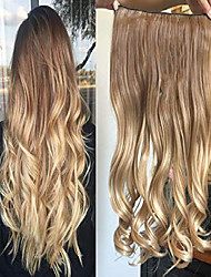 "cheap -17"" 20"" 22"" 25"" synthetic one piece straight wavy curly clip in ombre hair extensions (20inches wavy, light brown+sandy blonde)"