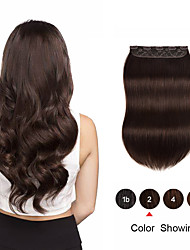 cheap -Clip In Hair Extensions Remy Human Hair 1 Piece Pack Straight Natural Hair Extensions