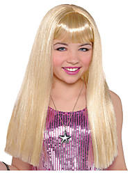 cheap -Cosplay Wig Child Long Blonde Straight With Bangs Wig Medium Length Blonde Synthetic Hair Women's Anime Cosplay Exquisite Blonde