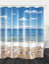 cheap -Bathroom Decoration Shower Curtain Set Beach sea View Print Waterproof Fabric Shower Curtain for Bathroom Home Decor Covered Bathtub Curtains Liner Includes with Hooks