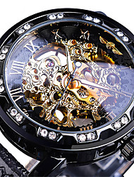 cheap -WINNER Men's Mechanical Watch Analog Automatic self-winding Vintage Style Casual Hollow Engraving / Two Years / Leather
