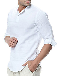 cheap -Men's Shirt Solid Color Long Sleeve Casual Tops Light Blue White Black