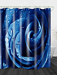 cheap -Blue rose with Water Drops Beautiful Back Print Waterproof Fabric Shower Curtain for Bathroom Home Decor Covered Bathtub Curtains Liner Includes with Hooks 72 Inch