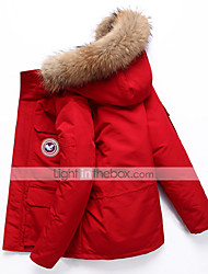 cheap -Men's Down Parka Solid Colored White Duck Down POLY White / Black / Red M / L / XL