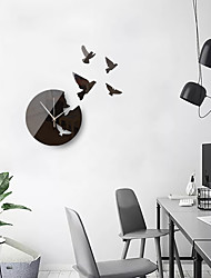 cheap -Large Size 3D Peace Pigeon Wall Stickers Creative Simple Mirror Acrylic Background Decorative Wall Clock