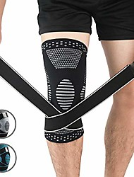cheap -copper knee compression sleeve hinged knee brace knee protector running accessories patella stabilizing knee brace for arthritis pain and support knee wrap basketball l large