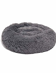 cheap -donut cat bed, faux fur washable bed for cats, marshmellow cat dog round bed, calming self warming cuddler cat bed, 20 inch, deep grey
