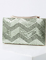 cheap -Women's Bags Polyester Alloy Evening Bag Glitter Sequin Geometric Pattern Handbags Wedding Event / Party Black Red Gold Green