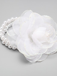 cheap -Women's Bead Bracelet Tropical Flower Fashion Fabric Bracelet Jewelry White For Wedding